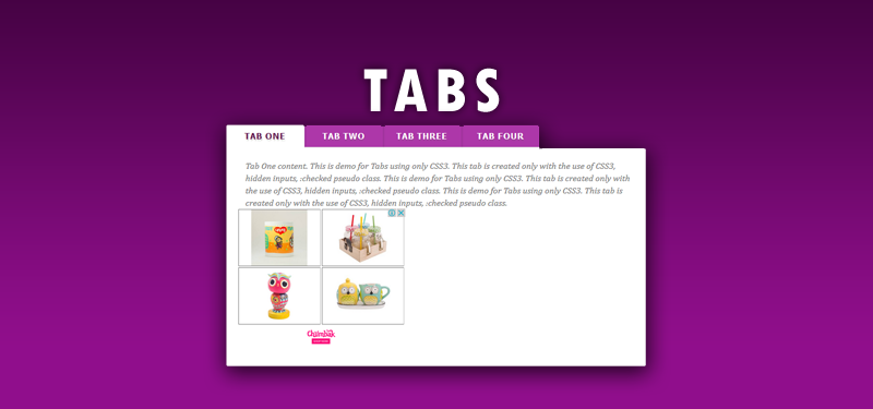 Tabs with CSS3
