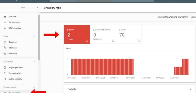 Google Search Console: Breadcrumbs Markup Issues